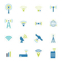 Set  different  vector wireless  and wifi icons