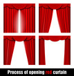 process of opening red curtain - 70796214