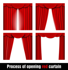 process of opening red curtain
