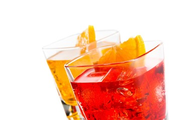 cocktail with orange slice on top isolated on white background