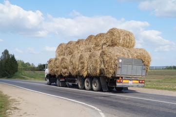 Большой грузовик везет большие тюки соломы
