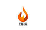 Fire Flame Logo design vector. Fireball logotype icon poster