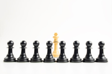 White king in front of black pawns