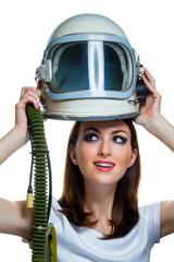 Woman with vintage astronaut helmet