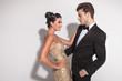 Elegant fashion couple embracing