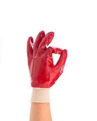 Hand in work glove shows ok sign.