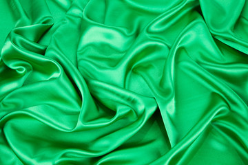 Texture of Green silk background.