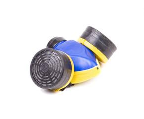 Close up of blue respirator.