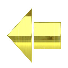 glossy golden arrow icon - 3D render isolated on white