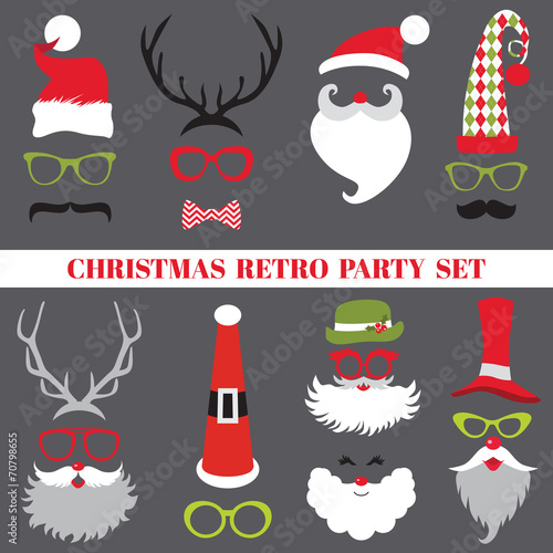 Christmas Retro Party set - Glasses, hats, lips, mustaches - 70798655