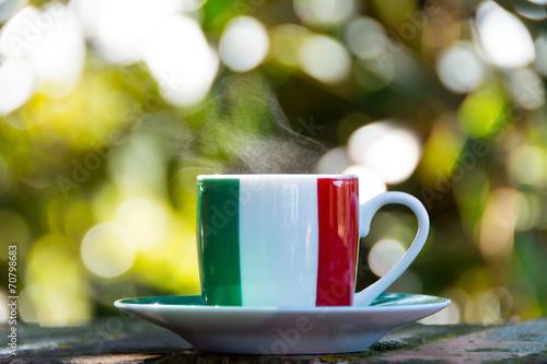 Fotobehang Cafe Italian coffee. Cup with italian flag