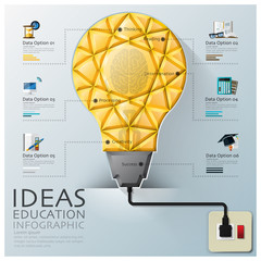 Light Bulb Three Dimension Polygon Idea And Education Infographi