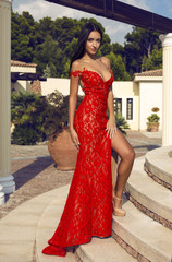 sexy woman with dark hair in luxurious red dress