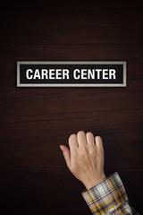 Hand is knocking on Career Center door