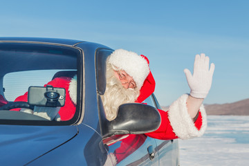 Portrait of Santa Claus in the car