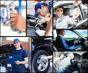 Car upkeep and safe driving concept