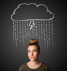 Young woman with thundercloud above her head