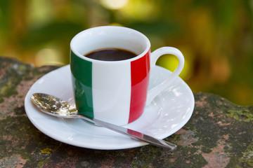 Italian coffee. Cup with italian flag