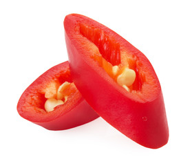 slices of red chilly pepper isolated on the white background