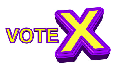 Vote X sign in purple and yellow