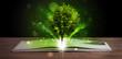 Obrazy na płótnie, fototapety, zdjęcia, fotoobrazy drukowane : Open book with magical green tree and rays of light