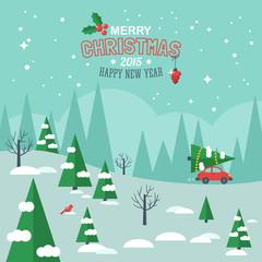 Flat design modern vector illustration for Christmas holiday