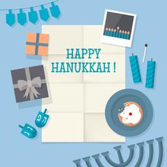 Flat design modern vector illustration for Hanukkah