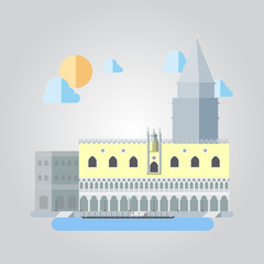 Flat design of Italian building cityscape