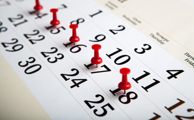 large wall calendar with needles