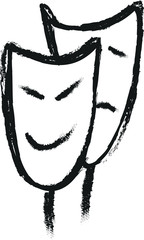 Doodle style comedy and tragedy theater masks