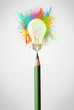Pencil close-up with colored paint splashes and lightbulb