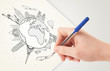 Hand drawing vacation trip around the earth with landmarks and c