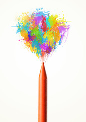 Colored paint splashes coming out of crayon