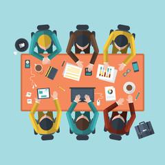 Flat design concept of teamwork on business meeting