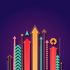 Flat design illustration of arrows background