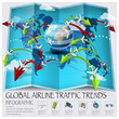 World Map Of Global Airline Traffic Trends Infographic