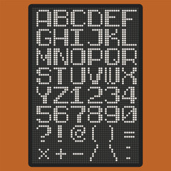 Vector pixel font with uppercase letters