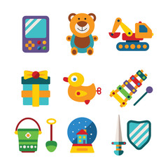 Set of vector colorful kids toys in flat style