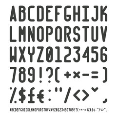 Vector simple narrow outline font