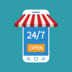 Concept of day and night online shop on modern smart phone