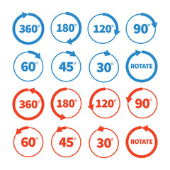Different rotation angles vector icon set