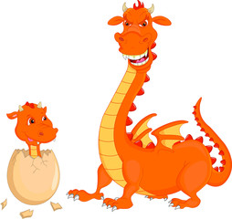 Mother and baby fire dragon hatching