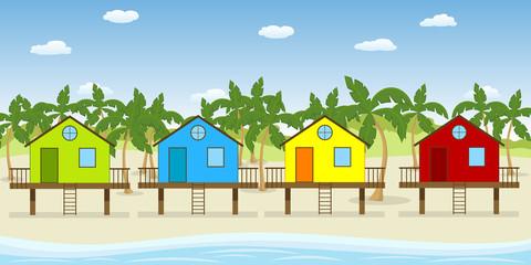 Bunte Strandhäuser