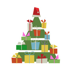 Christmas tree with gift boxes for your design