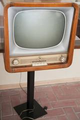 Retro vintage TV set with selective focus