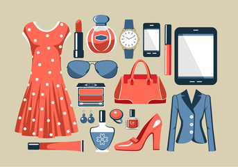 Fashion set in a style flat design. vector illustration