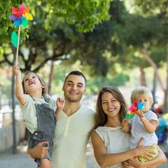 Parents walking with children