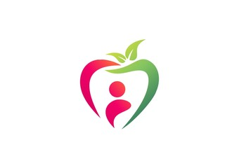 apple logo people plant leaf nature health diet fruit