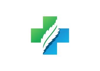 medicine pharmacy logo,health icon,cross plants,plus nature