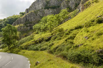 road and steep slopes at Cheddar gorge, Somerset